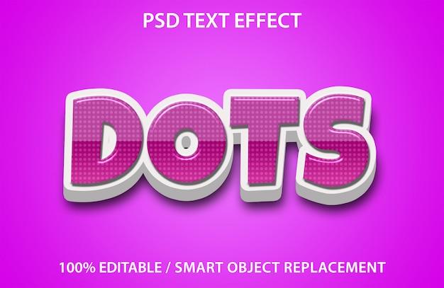 Редактируемый текстовый эффект dots premium