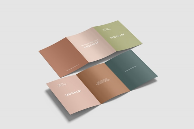 Double a4 tri fold brochure mockup