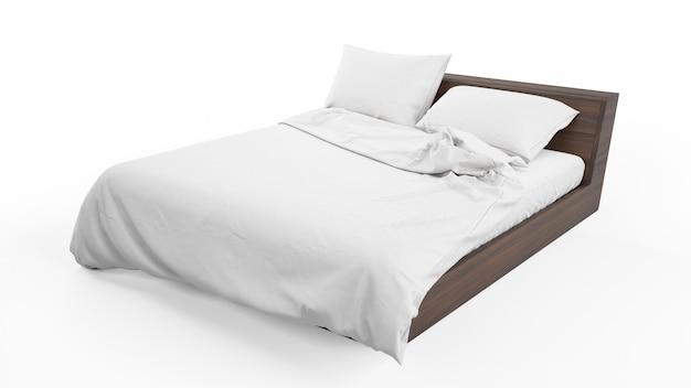 Letto matrimoniale con biancheria da letto bianca isolata