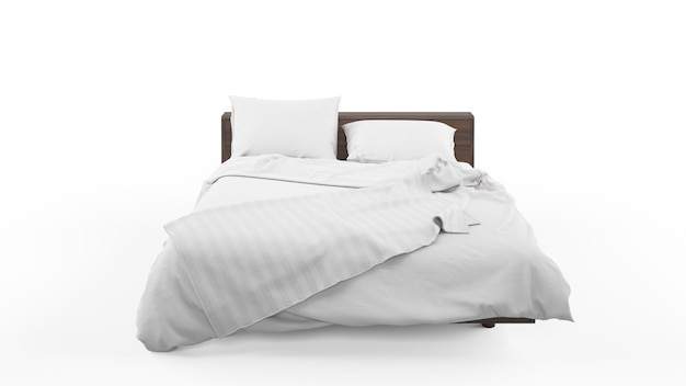 Двуспальная кровать с белым покрывалом и одеялом
