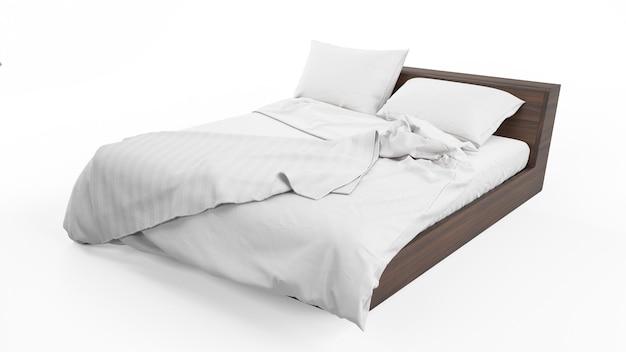 흰색 침대보와 이불 절연 더블 침대