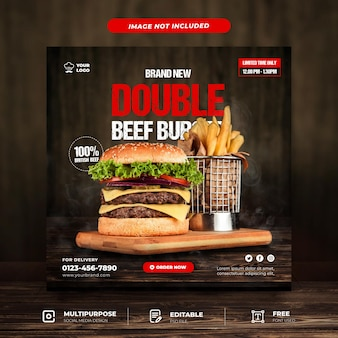 Double beef burger set social media template