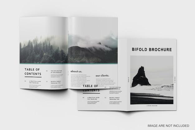 Double of bifold brochure mockup