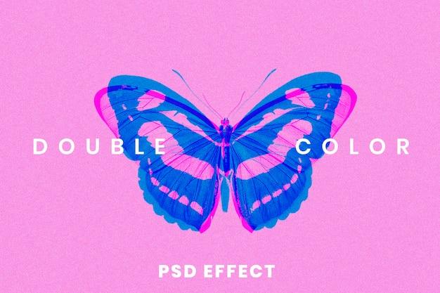 Effetto psd con esposizione astratta a doppio colore facile da usare in supporti remixati con tono 3d anaglifo