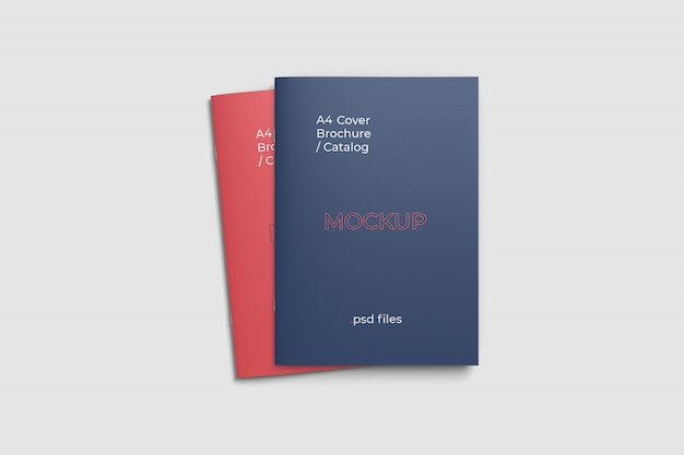 Double cover a4 brochure mockup top angle view