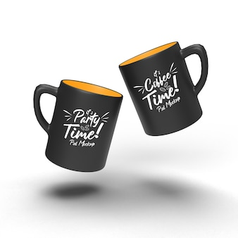 Double doff drinking coffee beverage coffee realistic isolated mockup