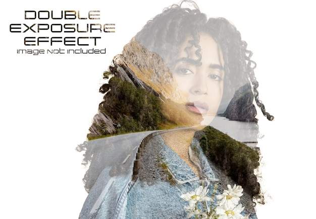 Double exposure photo effect mockup