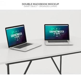 Double macbook mock up