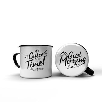 Двойная металлическая питьевая кофейная кружка для кемпинга в классическом стиле, изолированный макет