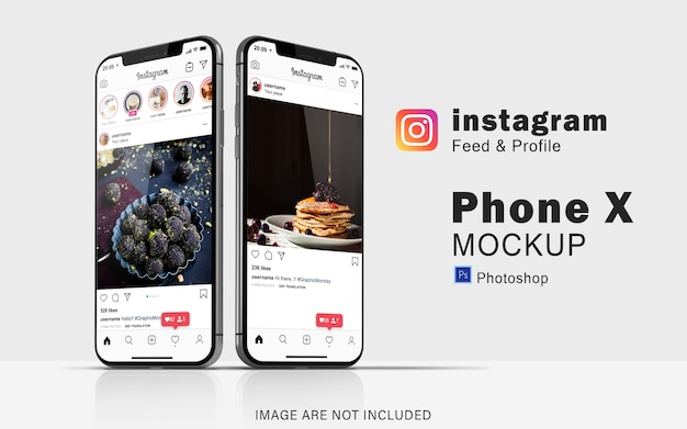 Double phone of social media mockup on smartphone