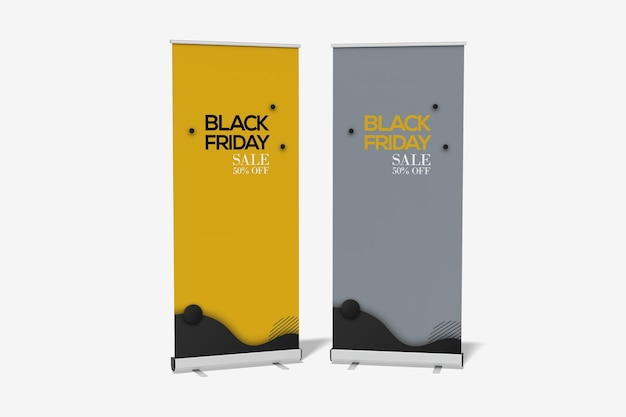 Double roll up banner mockup