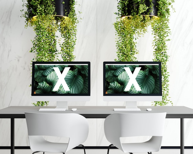 Double screen with flowers lamp