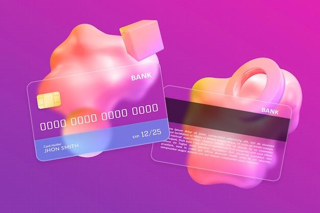 Двухсторонний дизайн кредитной карты с эффектом размытого прозрачного стекла