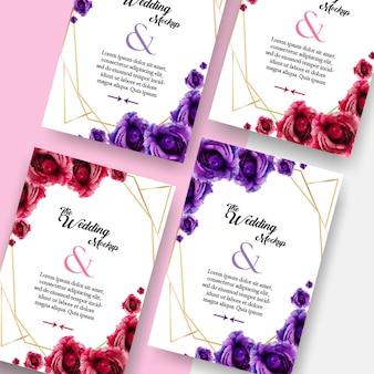 Double side wedding invitation card mockup