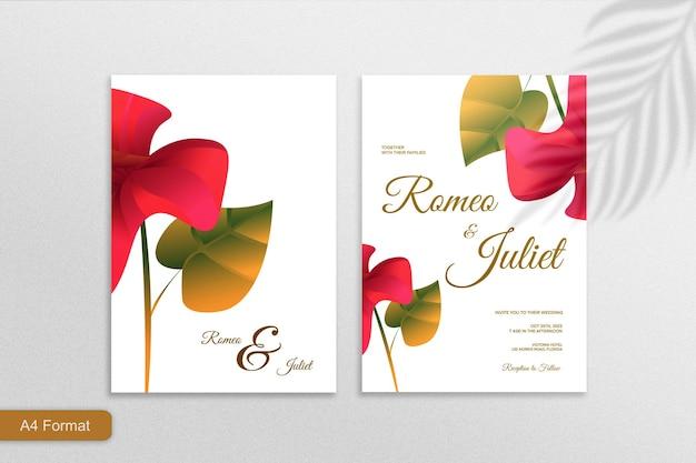 白い背景の上の両面ミニマリスト花の結婚式の招待状赤ピンクの花