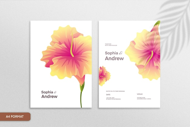 白い背景の上のオレンジ色の花と両面ミニマリストの花の結婚式の招待状