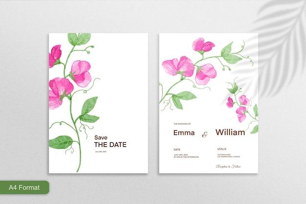 白い背景の上のピンクの花と両面ミニマリストの花の結婚式の招待状