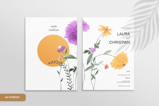 白い背景の上の紫とオレンジ色の花と両面ミニマリストの花の結婚式の招待状