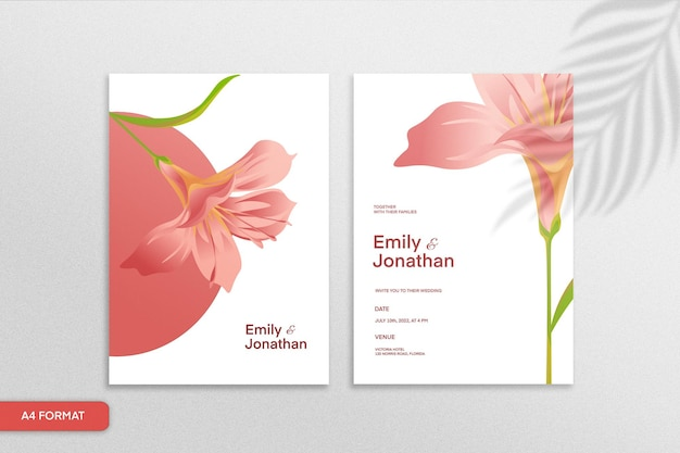 白い背景の上の赤い花と両面ミニマリストの花の結婚式の招待状