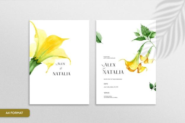 白い背景の上の黄色い花と両面ミニマリストの花の結婚式の招待状