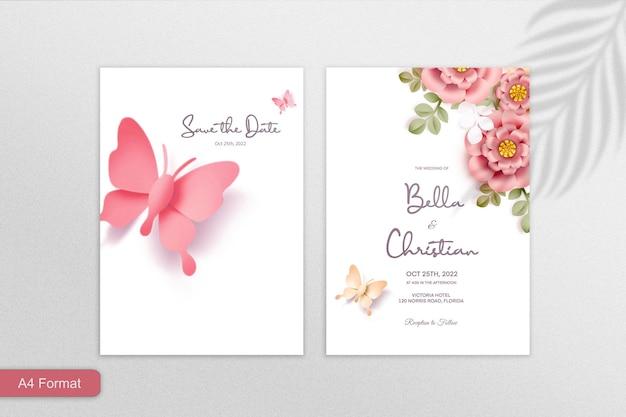 ピンクの背景に両面紙スタイルの花の結婚式の招待状