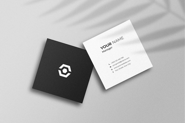 Double sided square business card mockup with shadow