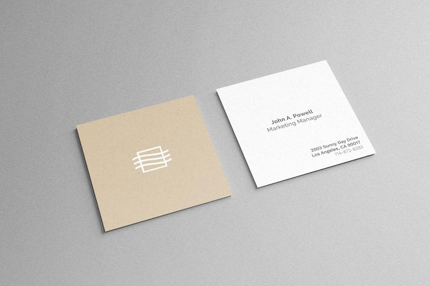 Double sided square business card mockup