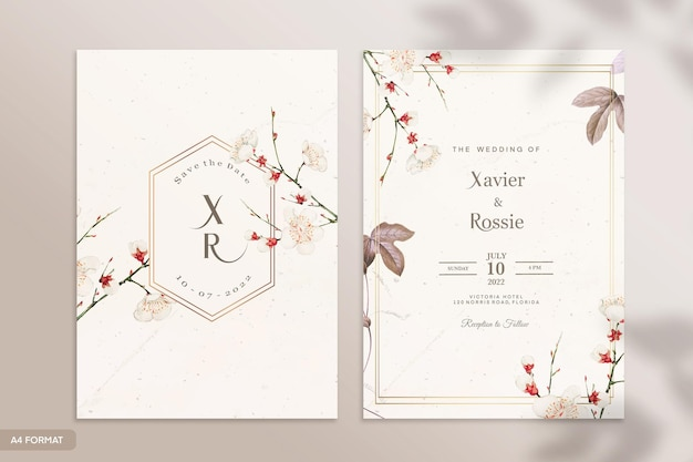 両面ヴィンテージ結婚式招待状テンプレート