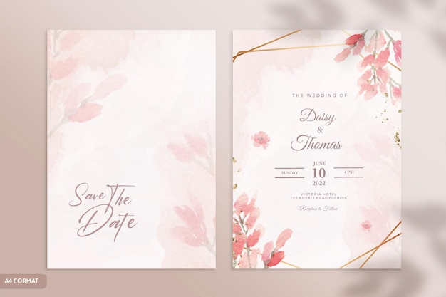 赤い花と両面水彩結婚式の招待状のテンプレート