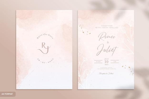 両面水彩結婚式の招待状のテンプレート