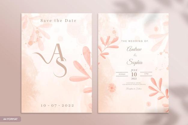 ベージュの花と両面結婚式の招待状のテンプレート