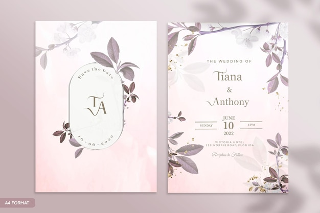 茶色の花と両面結婚式の招待状のテンプレート