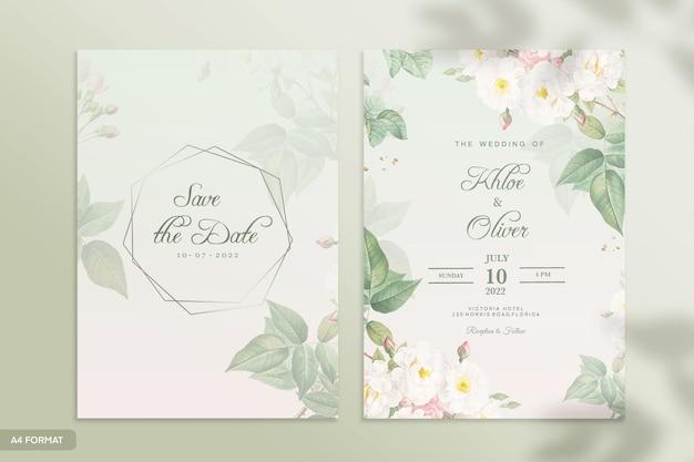 緑の花と両面結婚式の招待状のテンプレート