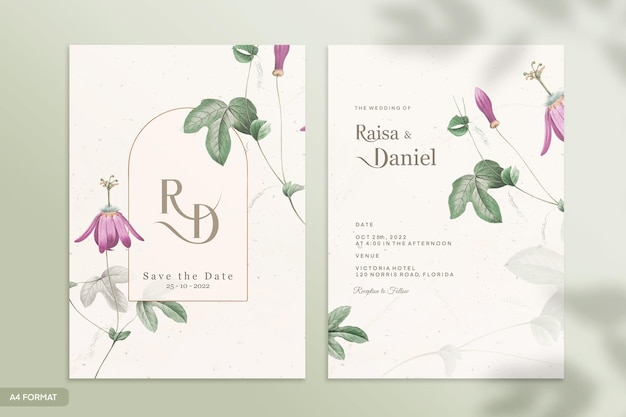 Double sided wedding invitation template with green and purple flower