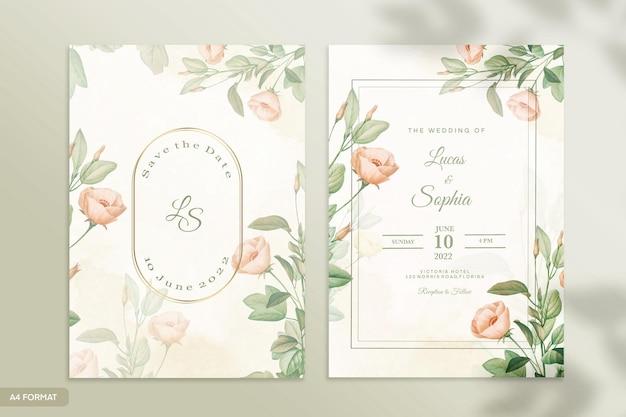 オレンジ色のバラの花と両面結婚式の招待状のテンプレート