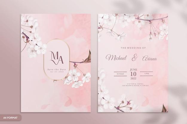 ピンクの花と両面結婚式の招待状のテンプレート