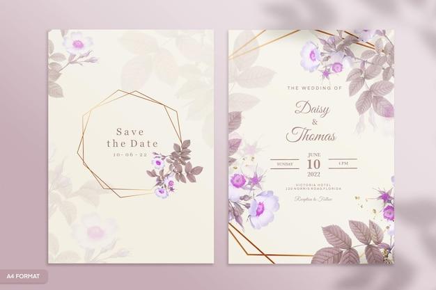 紫色の花と両面結婚式の招待状のテンプレート