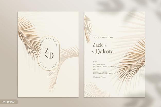 熱帯の花と両面結婚式の招待状のテンプレート