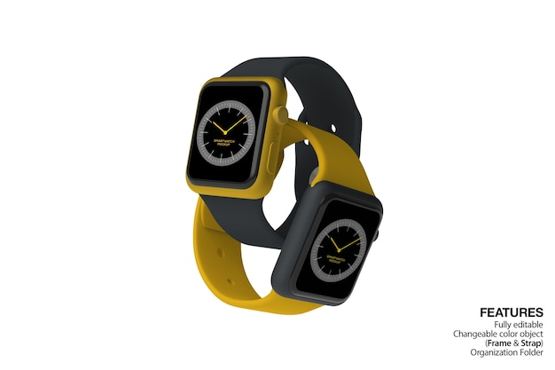 Double smartwatches mockup