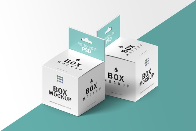 Double square box packaging mockup