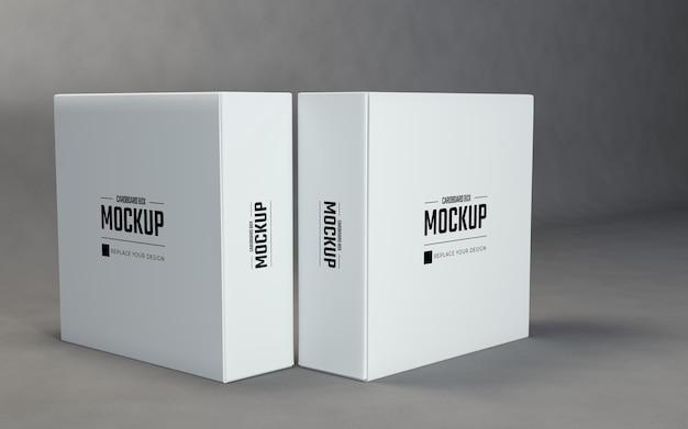 灰色の背景を持つダブルスクエアボックスモックアップデザインテンプレート