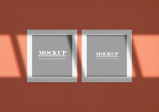 Double square cards mockup with elegant shadow