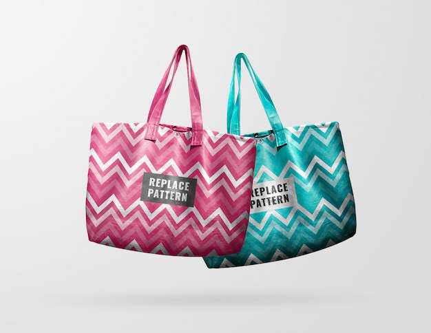 Double tote bag pastel mockup