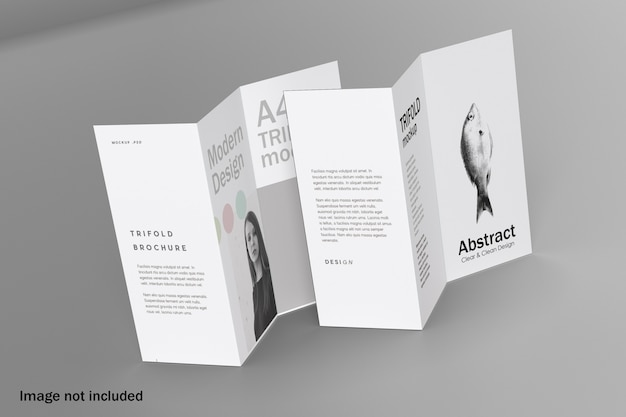 Double trifold brochure mockup