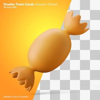 Двойной поворот конфеты 3d иллюстрации рендеринг значок редактируемые изолированные