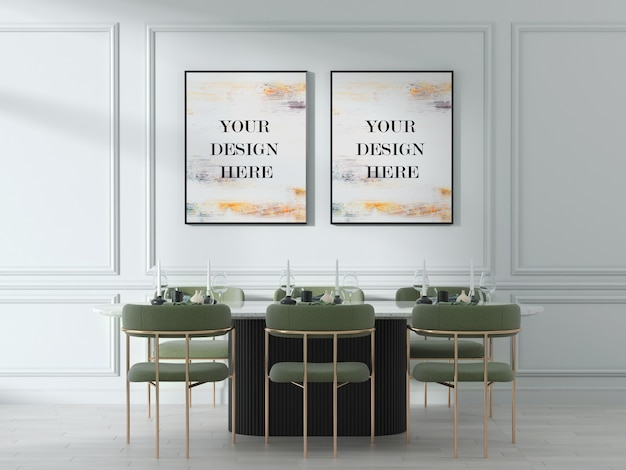 Double wall frame mockup in bright modern interior with gold green accent chairs