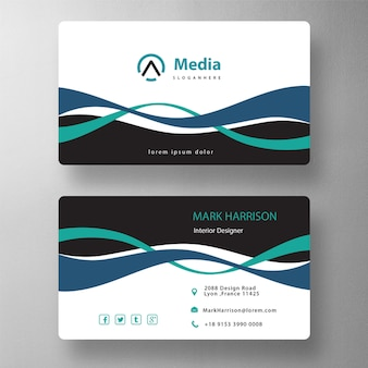 Double wavy shape business card