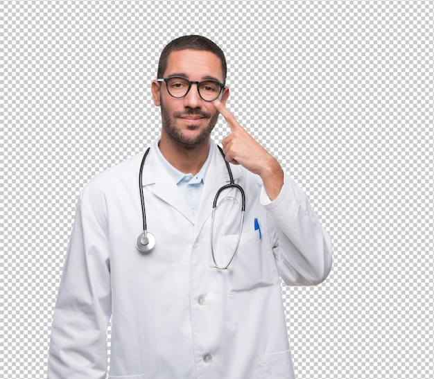 Doubtful young doctor with a gesture of observe