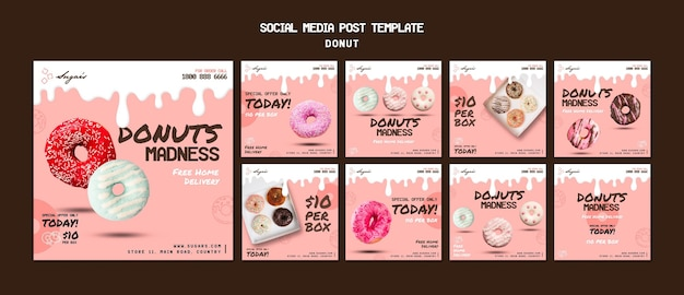 Doughnuts madness instagram post template