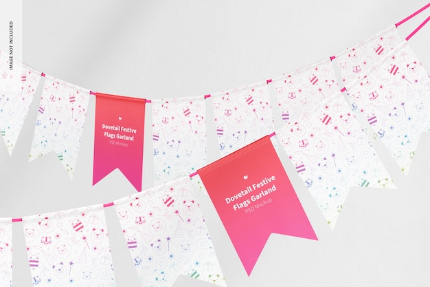Dovetail festive flags garland mockup front view